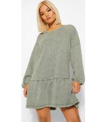 petite acid wash gebleekte sweatshirt jurk met geplooide zoom, kaki