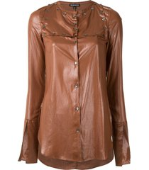ann demeulemeester coated button-embellished shirt - brown
