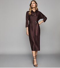 reiss vienna - belted midi dress in berry, womens, size 12