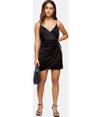 petite black satin wrap mini dress - black