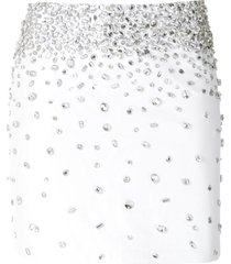andrea bogosian sinah leather mini skirt - white