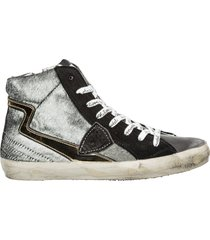 scarpe sneakers alte donna in pelle paris