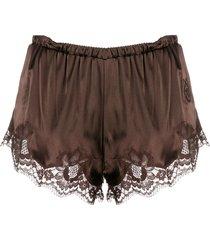 dolce & gabbana lace trim shorts - brown