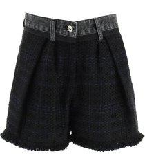 sacai tweed and denim shorts