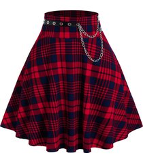 plus size plaid printed grommet chain skirt