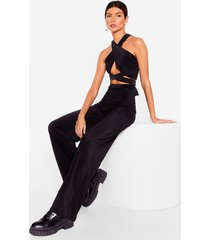 womens get it together halter top and wide-leg pants set - black