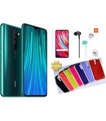 celular xiaomi redmi note 8 pro 128gb 6gb ram verde +vidrio+audifonos xiaomi+silicone case