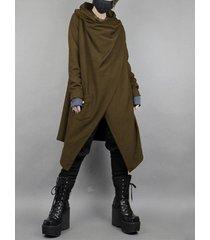 cárdigan de abrigo informal liso de longitud media irregular de estilo japonés para hombre