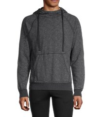 mills supply men's ribbed cotton-blend hoodie - washed black - size s