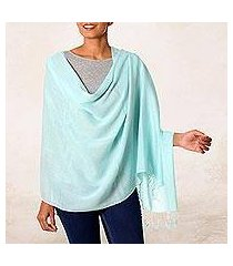 cotton shawl, 'aqua caress' (india)