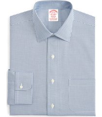brooks brothers madison classic fit stretch plaid dress shirt, size 14.5 - 33 in blue at nordstrom