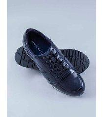 sneakers de cuero contraste 81811