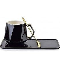 filiżanka porcelanowa złota łyżeczka czarna