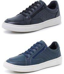 kit 2 sapatenis sandalo soft walk azul e preto