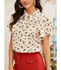 camicetta con stampa floreale a maniche corte con volant o-collo bowknot