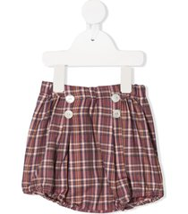 siola plaid print high-waisted bloomer shorts - pink