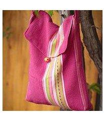 alpaca shoulder bag, 'strawberry fizz' (peru)