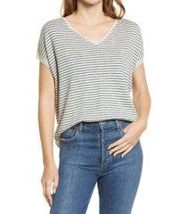 caslon(r) v-neck dolman sweater, size x-large in beige- blue stripe at nordstrom