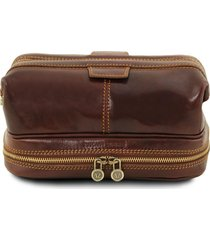 tuscany leather tl141717 patrick - beauty case in pelle marrone