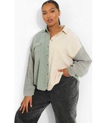 plus oversized colour block corduroy blouse, sage