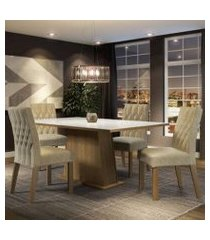 conjunto sala de jantar madesa grazi mesa tampo de vidro com 4 cadeiras rustic/branco/imperial