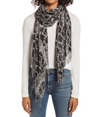 women's nordstrom tissue print wool & cashmere wrap scarf, size one size - grey