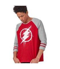 camiseta manga longa masculina the flash logo spray