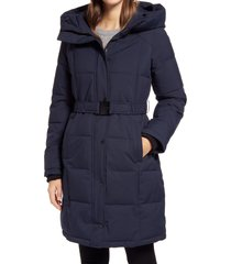 women's sam edelman pillow collar belted puffer coat, size x-small - blue