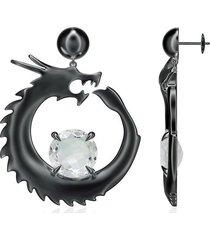 natori dragon dangler earrings, women's, silver natori