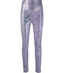 purple leopard-print leggings