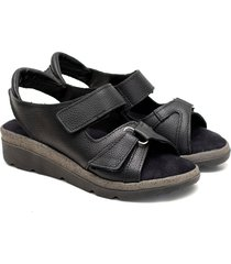 sandalia de cuero negra valentia calzados brenda 309