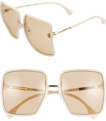 women's fendi 59mm angular sunglasses - ivory/ brown