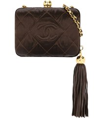 chanel pre-owned 1991-1994 fringe chain shoulder bag - brown