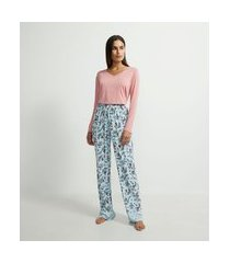 pijama blusa manga longa e calça com estampa floral em viscolycra | lov | rosa | p