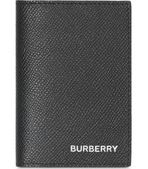 burberry grainy leather bifold card case - black