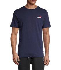 puma men's embroidered logo short sleeve t-shirt - blue - size m