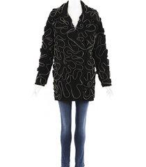 stella mccartney zipper embellished wool coat black/silver/geometric sz: xs