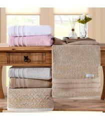 kit 4 toalhas rosto fio pentado biopolimento 500g/m² caqui - tessi - tricae