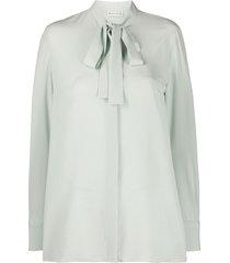 etro tie-neck crepe blouse - green