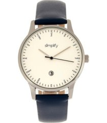 simplify quartz the 4300 silver case, genuine navy leather watch 42mm