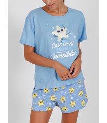 pyjama's / nachthemden admas pyjama kort t-shirt cree en t1 blauw