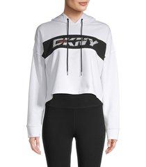 dkny women's cropped logo hoodie - white - size s