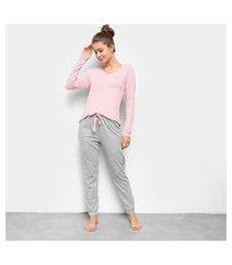 pijama hering longo feminino