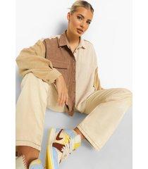 oversized corduroy colour block blouse, chocolate