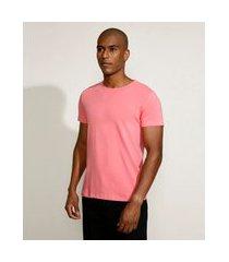 camiseta masculina básica com elastano manga curta gola careca rosa claro