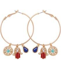 guess gold-tone crystal & stone hamsa hand charm hoop earrings