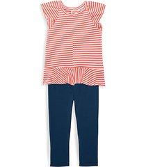 little girl's 2-piece slub ruffle top & leggings set