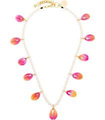 venessa arizaga gold-plated summer shells pearl necklace - pink