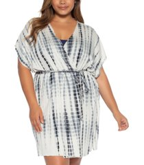 becca etc plus size tide pool printed cover-up kimono women's swimsuit