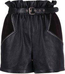 saint laurent stud-embellished paperbag shorts - black